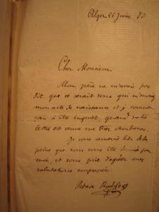 Lettre d'Octave à Destrem de 1880
